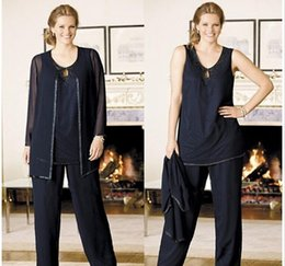 Cheap Sexy Suits NZ - Sexy Navy Blue Mother of the Bride Groom Pants Suit Plus size 2019 Beads Sequin Three Pieces Cheap Long pants Evening Gowns