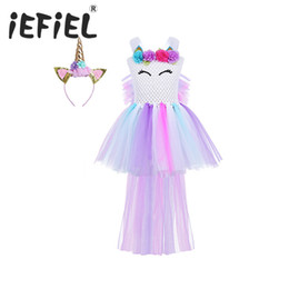 girls dress up clothes NZ - iEFiEL Girls Princess Floral Tutu Dress Costume with Hair Hoop for Kids Birthday Theme Party Cosplay Halloween Dress Up Clothes