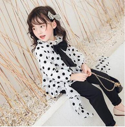 stitched girls shirts NZ - Children's Fall Shirt 2019 New Girls'Korean Dot Top Long Sleeve with Lace Stitching Girls Tide Pants