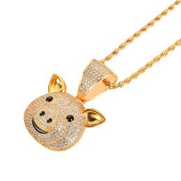 $enCountryForm.capitalKeyWord Australia - European and American Pig Hip Hop Pendant Chinese Zodiac Pig Gold Necklace Cute Little Animal Micro Zircon Pendant
