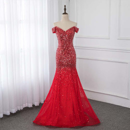 $enCountryForm.capitalKeyWord Australia - Sexy Off Shoulder Red Mermaid Evening Dresses 2019 Formal Dresses Evening Gown Competition Sequin Beading Tulle Mermaid Party Prom Dress