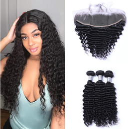 Discount 22 24 26 inch hair bundles - Brazilian Deep wave Human Hair Weaves 3 Bundles with 13x4 Lace Frontal Ear to Ear Full Head Natural Color Can be Dyed Hu