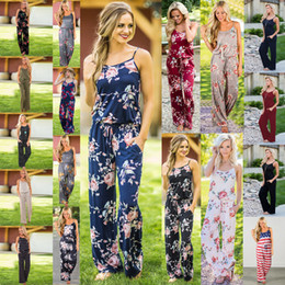 Wholesale lounge clothing resale online - Women Striped Strap Floral Print Romper Jumpsuit Sleeveless Beach Playsuits Boho Summer Jumpsuits Long Pants Lounge Maternity Clothing M1732