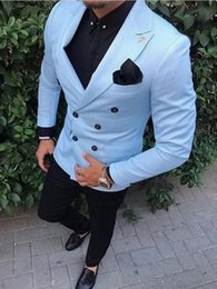 $enCountryForm.capitalKeyWord Australia - Slim Fit Double Breasted Street Suit Men Blue Smart Business Prom Male Blazer Tuxedo Groom Wedding Suits For Men Terno Masculino