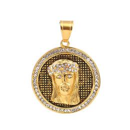 "$enCountryForm.capitalKeyWord UK - wholesale Stainless Steel Pendants Round Gold Tone Antique Gold Jesus Clear Rhinestone 49mm(1 7 8"") x 36mm(1 3 8""), 1 Piece"
