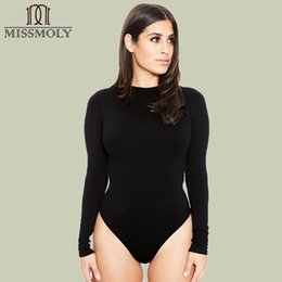 Stretch Jumpsuits Australia - Miss Moly Women Long Sleeve Sexy Stretch Bodysuit Leotards Rompers Jumpsuit Straps Plain Skinny Sleeveless Bodysuit Jumpsuits