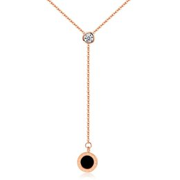 $enCountryForm.capitalKeyWord Australia - Rose Gold Pendant Necklaces Round Roman Numeral Diamond Original Long Link Chain Personality Designer Jewelry Women Stainless Steel Necklace