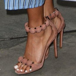 $enCountryForm.capitalKeyWord Australia - Hot Sale-Fashion T-bar High Heels Women's Sandals Open Toe Sexy Summer Rihanna Party Shoes Pom Pom Buttoned Straps Studded Suede Sandal
