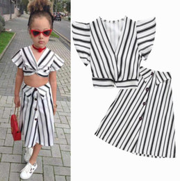 girls wholesale boutique outfits Canada - INS Baby girl clothes outfits children Striped V-neck Flying sleeve top+skirts 2pcs set 2019 Summer fashion Boutique kids clothing BY1074