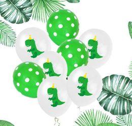$enCountryForm.capitalKeyWord Australia - Cartoon Dinosaur Latex Balloon 12 in Green Dot Dinosaur Balloons Set Kid Birthday Party Decoration 10pcs set