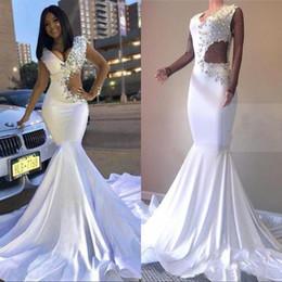 $enCountryForm.capitalKeyWord UK - Sexy V-Neck 2019 White Formal Evening Gowns robe marriage Rhinestones Fit & Flare Prom Dresses Long Mermaid Maxi Dress