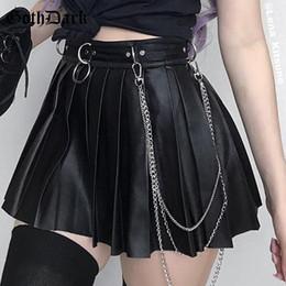 $enCountryForm.capitalKeyWord Australia - Goth Dark Grunge Punk Summer Gothic Skirts For Women Streetwear Zippper Nu Plissee Black Metal Ring Rock Pu Sexy Hole Y19071501
