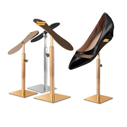 Metal floor display online shopping - High quality stainless steel Silver Gold Rose Gold adjustable height heels holder rack shoes display shelf stand LX2340