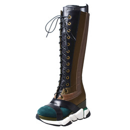 $enCountryForm.capitalKeyWord NZ - autumn winter leisure style platform flat knee high boots round toe wedge heel lace up sneakers shoes cow leather stretch long boots