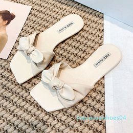korean cute slippers UK - Cute Slippers Women Shoes Summer Korean Square Toe Sandals Female Slippers Women Slides Zapatos De Mujer t04