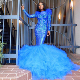 puffy prom dresses sleeves Australia - Elegant Royal Blue Mermaid Prom Dresses 2019 O Neck Long Sleeves Puffy Bottom Formal Evening Gowns Lace robe de soiree