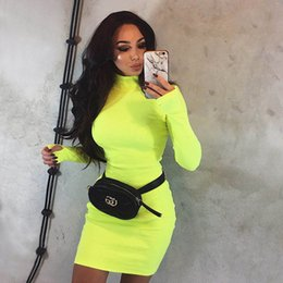 de32c733409 Womens Dresses 2019 Spring   Autumn New Simple Half Turtleneck Dress Tight  Skinny Solid Color Skirt Fashion Orange Fluorescent Yellow Dress