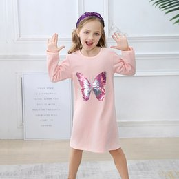 $enCountryForm.capitalKeyWord Canada - Sequined Baby Girl Cotton Dress Unicorn Animals Patters Girl Casual Dress Long Sleeve Princess Clothing for Kids Party Dress