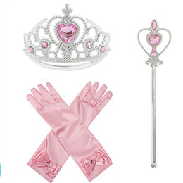 $enCountryForm.capitalKeyWord Australia - Cartoon Kids Little Girls Princess Gloves with Fairy Wand Crown Solid Color Long Elbow Length For Birthday Wedding Holiday Costume Party