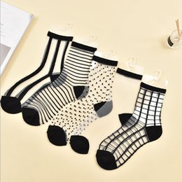 hipster glasses women 2019 - Hot Sale Hipster Harajuku Thin Ankle Socks Women Fashion Glass Transparent Stripe Short Socks Female Summer Art Fishnet