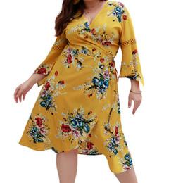 xl black flare dress 2019 - Party Floral Printed Split Loose Wrap Dress 4XL Plus Size Women Sundress Boho Sexy V-neck Female Flare Sleeve Midi Dress