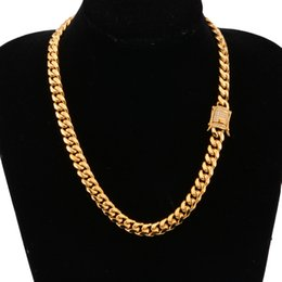 Steel Gold 18k Australia - Men Boy Hip Hop Stainless Steel Jewelry 18K Gold Plated High Polished Miami Cuban Link Necklace Men Punk Curb Chain Butterfly Clasp 24inch