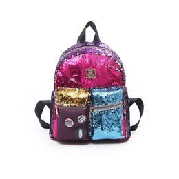 Discount girl laptop satchel - Vento Marea Women Sequin Backpack Cute Schoolbag For Teenage Student Girls Satchel Female PU Leather Laptop Purse Back t