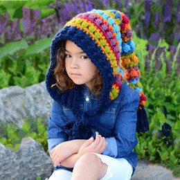 CroChet hat long tail online shopping - Winter Thickened Warm Hats Children s Wool Crochet Hats Rainbow Long Tail Hat Girl Colorful Princess Cap RRA2138
