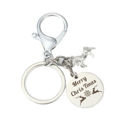 Personalized key rings for men online shopping - Personalized Stainless steel Round Pendant Keychain snowflake Dangle Key ring Carnival Christmas For Women For Teens Gift