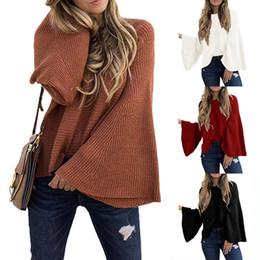 Ingrosso 2019 autunno e inverno maglione donna stile moda maglioni streetwear camicia manica a tromba abiti larghi da donna casual da donna top crop