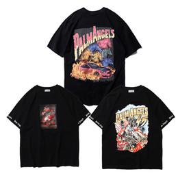 Vente en gros Hip Hop Palm Angels T-shirts Streetwear Impression 3D Peinture Palm Angels T-shirts 19SS Nouvelle Mode D'été Trop T-shirts