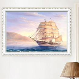$enCountryForm.capitalKeyWord Australia - DIY Diamond Painting Embroidered White Sailboat 5D Mosaic Ocean Sailboat Cross-stitch Smooth sailing Sunrise Sunset Decoration Painting New