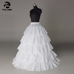 tiered petticoat Australia - White Four Hoops Plus Size Puffy Tiered Wedding Dresses Petticoat Crinoline Underskirt Bridal