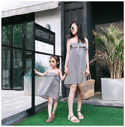 $enCountryForm.capitalKeyWord Australia - Mother daughter dresses girls falbala princess Suspender dress mother baby daughter matching stripe vest dress summer holiday dress
