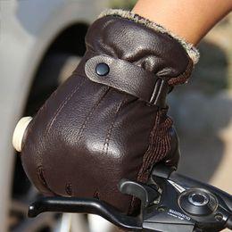 Short Black Gloves Australia - New Men PU Leather Short Thin Thick Black Brown Glove Man Gym Luvas Car Driving Mittens 2017 Spring Winter W1