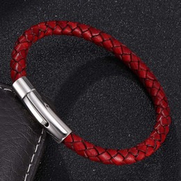 $enCountryForm.capitalKeyWord Australia - Trendy Women Men Leather Braided Bracelet Vintage Red Stainless Steel Snap Bracelets Bangles for Woman Man Fashion Gifts ST0030