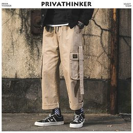 Male Full Belt Australia - Khaki Belt Joggers Pants 2018 Men Pockets Japanese Streetwear Cargo Pants Male Hip Hop SweatPants Straight Overalls