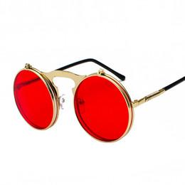 $enCountryForm.capitalKeyWord UK - Vintage Steampunk Flip Up Men Sunglasses Women Retro Round Metal Frame Sun Glasses Hinge Design Curved Glasses Legs