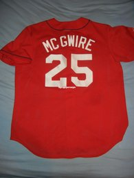 majestic jersey l Australia - Cheap Retro #25 MCGWIRE ST LOUIS Red Majestic Batting Practice Jersey Large A's Mens Stitched Baseball jerseys