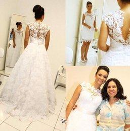 Wedding Dresses Two Piece Design Australia - 2016 New Design Two Pieces High Neck Lace A Line Wedding Dresses With Detachable Train Arabic Sleeveless Bridal Gowns Vestidos De Novia
