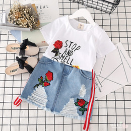EmbroidEry dEsigns flowEr girl online shopping - 2pcs Summer new design embroidery rose flower kids short top denim skirt fashion boutique kids suit children clothing sets