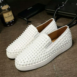 loafers shoes for women 2019 - 2019 Designer Red Bottoms Loafers For Men Women Genuine Leather Slip On Platform Casual Sneakers Spikes Wedding Party Fl