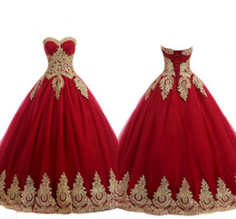 $enCountryForm.capitalKeyWord Australia - Sexy Red And Gold Wedding Dresses Strapless Lace-up Applique Tulle Country Wedding Guest Dress Bridal Party Gowns For Bride Plus Size New