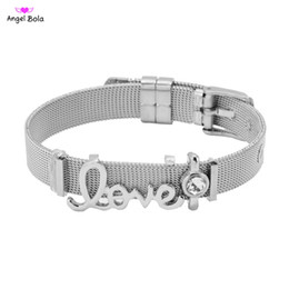 strap sliders UK - New fashion letters love 10mm wide stainless steel grid strap bracelet round charm brand bracelet bracelet ladies gift jewelry direct