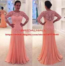 Peach bride dresses online shopping - Peach Chiffon Mermaid Mother of the Bride Groom Dresses Plus Size Long Sleeves Sheer Lace Neck Evening Formal Dress Cheap Party Gowns