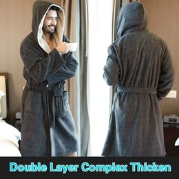7c8cb3716a Men s Large size Winter Warm Home Wear Flannel Hooded Robe Nordic Classic  Gray Comfort Bathrobes Long Bath Robe For Male Gifts