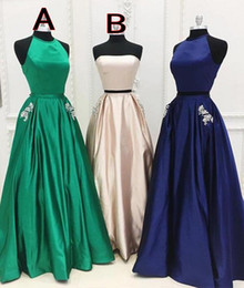 EmErald silk online shopping - Emerald Green Two Pieces Prom Dresses Beads Pockets Evening Party Pageant Gowns Special Occasion Dress k19 Black Girl Couple Day BD01