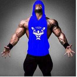 $enCountryForm.capitalKeyWord Australia - 2019 tight fitting personality Bodybuilding Stringer Tank Tops Shirt Fitness Tank hooded Top Cotton T-shirt tiger