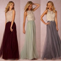 $enCountryForm.capitalKeyWord Australia - New Trends Two Pieces Bridesmaid Dresses Lace Bodice Tulle Skirt Burgundy Grey Mint Sheer Crew Neck Elegant Prom Dresses Wedding Guest Dress