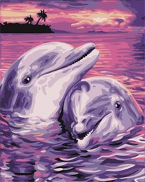 Oil painting dOlphins online shopping - DRAWJOY Dolphin Framed DIY Oil Paint DIY Painting By Numbers On Canvas Coloring By Numbers For Home Decor